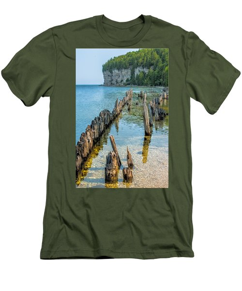 Pilings On Lake Michigan Men's T-Shirt (Athletic Fit)