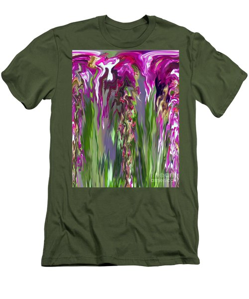 Pink And Green Floral Men's T-Shirt (Slim Fit) by Cedric Hampton