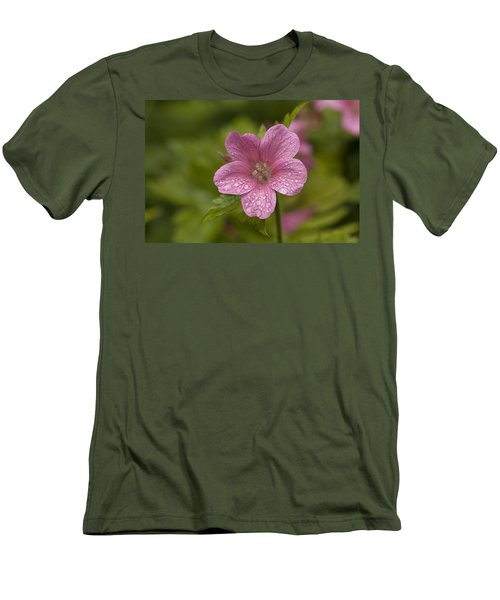 Pink Droplets Men's T-Shirt (Slim Fit) by Eunice Gibb