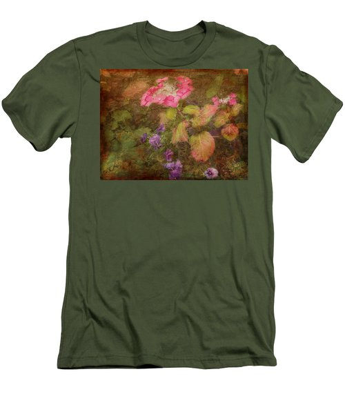 Pink Hydrangea And Purple Pansies Men's T-Shirt (Slim Fit) by Bellesouth Studio