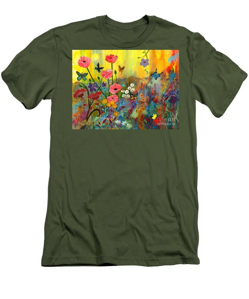 Men's T-Shirt (Slim Fit) featuring the painting Pink Poppies In Paradise by Robin Maria Pedrero