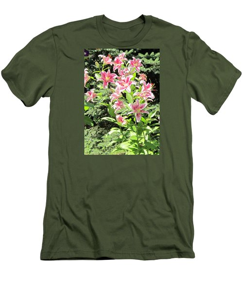 Pink Stargazer Lilies-greeting Card Men's T-Shirt (Athletic Fit)