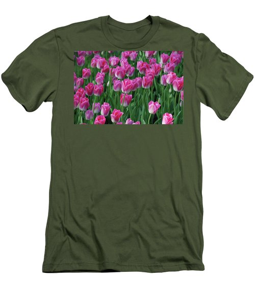 Men's T-Shirt (Slim Fit) featuring the photograph Pink Tulips 2 by Allen Beatty