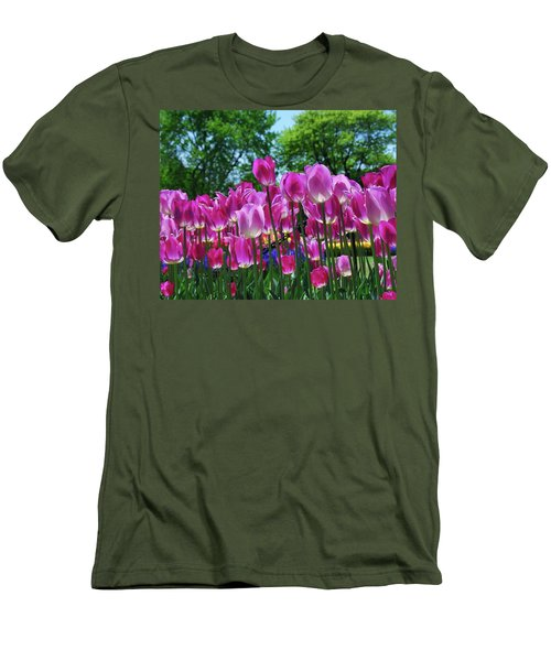 Men's T-Shirt (Slim Fit) featuring the photograph Pink Tulips by Allen Beatty