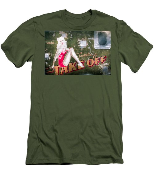 Pinup Girl - Aircraft Nose Art - Take Off Anne Men's T-Shirt (Slim Fit)