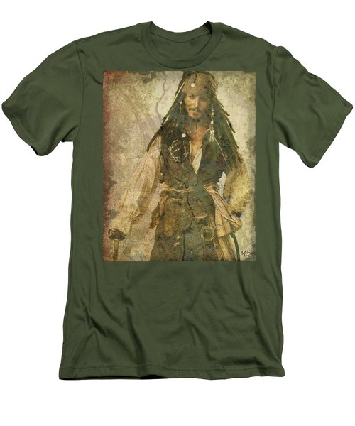 Pirate Johnny Depp - Steampunk Men's T-Shirt (Slim Fit) by Absinthe Art By Michelle LeAnn Scott