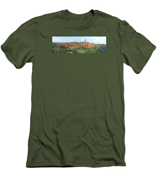 Men's T-Shirt (Slim Fit) featuring the photograph Pitigliano Panorama by Alan Socolik