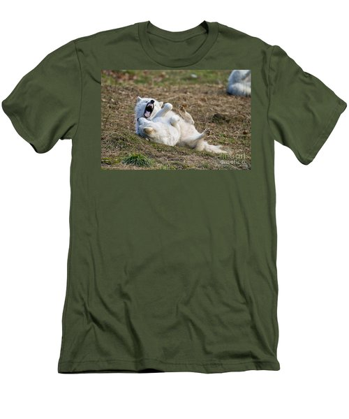 Men's T-Shirt (Slim Fit) featuring the photograph Playful Arctic Wolves by Wolves Only