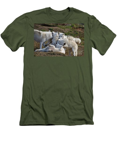 Men's T-Shirt (Slim Fit) featuring the photograph Playful Pack by Wolves Only