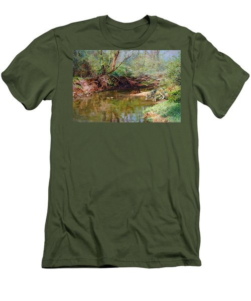 Men's T-Shirt (Slim Fit) featuring the painting Pleasure Of  The Enchanted Wolf by Svitozar Nenyuk