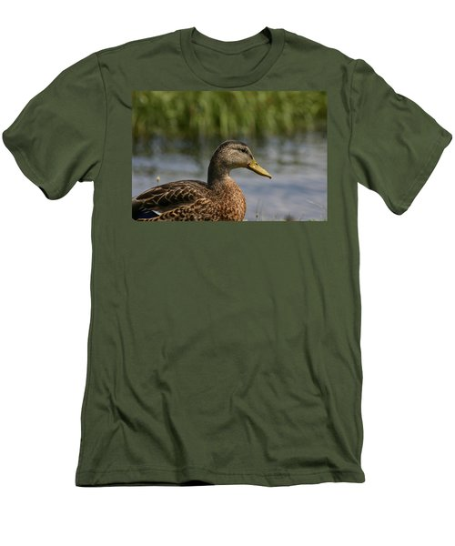 Men's T-Shirt (Slim Fit) featuring the photograph Pondering A Swim by Denyse Duhaime