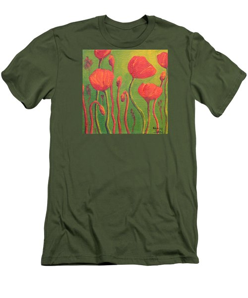 Men's T-Shirt (Slim Fit) featuring the painting Poppy Field by Nancy Jolley