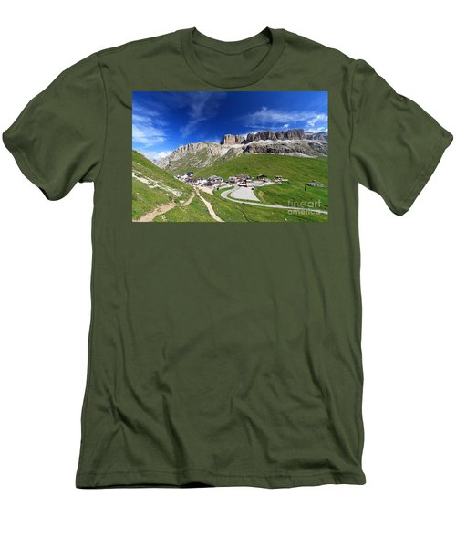 Pordoi Pass And Mountain Men's T-Shirt (Athletic Fit)