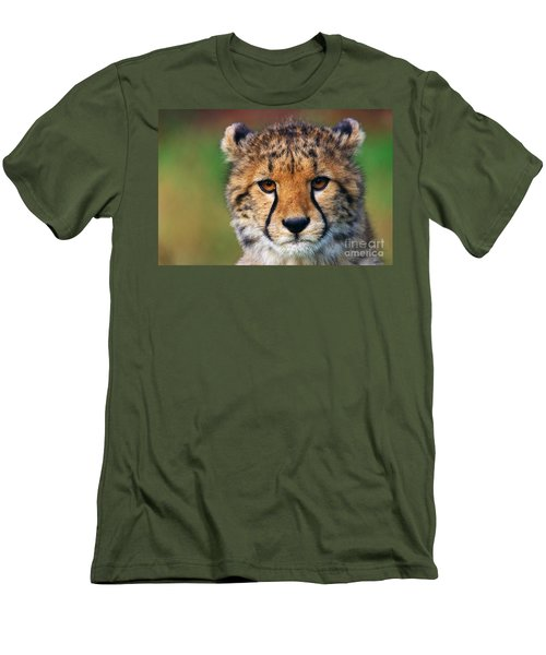Men's T-Shirt (Slim Fit) featuring the photograph Portrait Of A Cheetah Cub by Nick  Biemans
