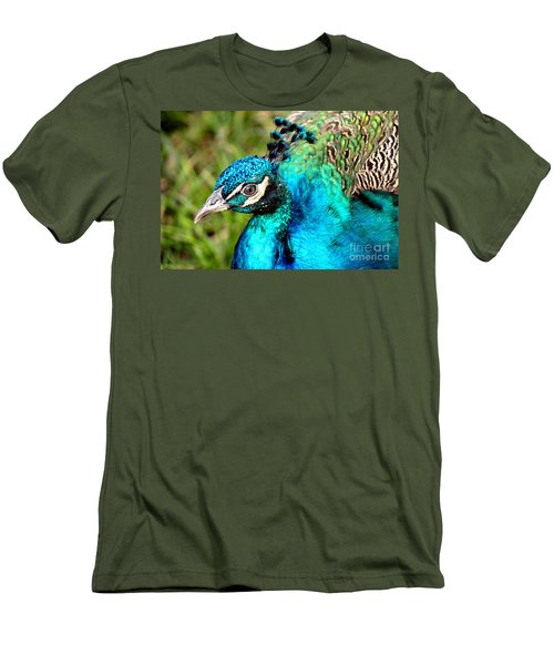 Men's T-Shirt (Slim Fit) featuring the photograph Portrait Of A Peacock by Kathy  White