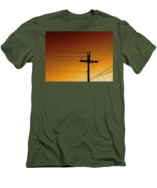 Power Line Sunset Men's T-Shirt (Athletic Fit)