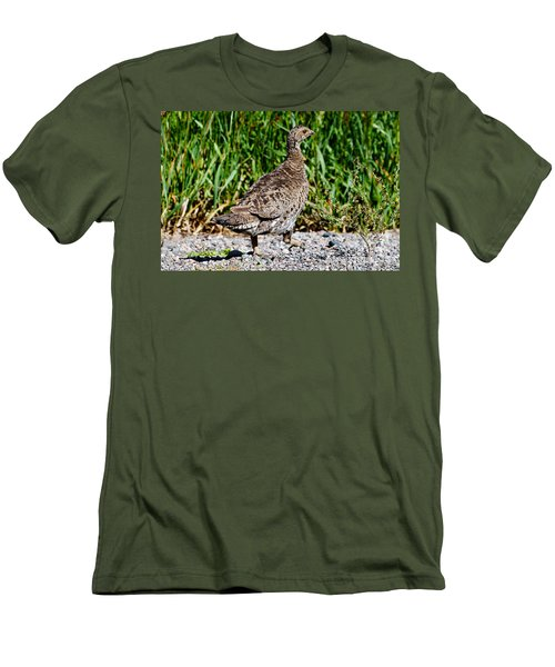 Men's T-Shirt (Slim Fit) featuring the photograph Prairie Chicken Run by Janice Rae Pariza