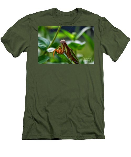Men's T-Shirt (Slim Fit) featuring the photograph Praying Mantis by Thomas Woolworth