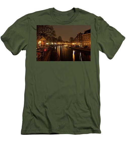 Prinsengracht Canal After Dark Men's T-Shirt (Athletic Fit)