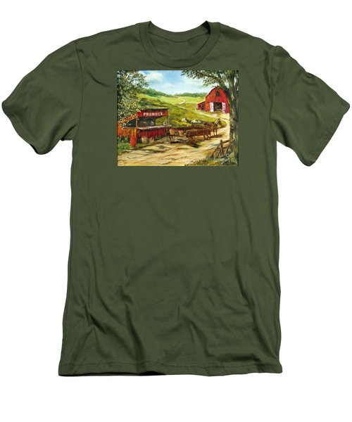 Men's T-Shirt (Slim Fit) featuring the painting Produce Stand by Lee Piper