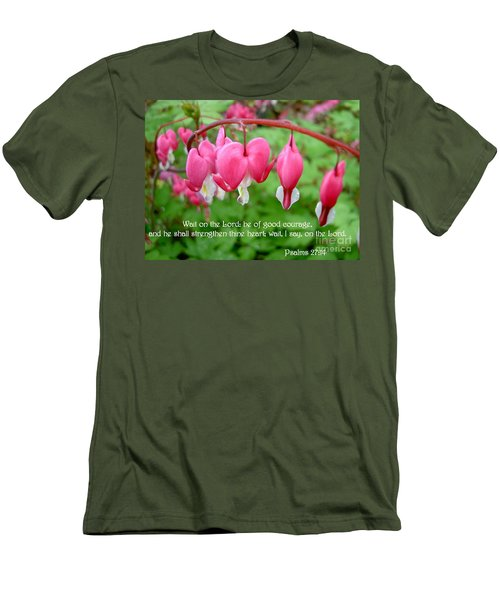 Psalms 27 14 Bleeding Hearts Men's T-Shirt (Slim Fit) by Sara  Raber