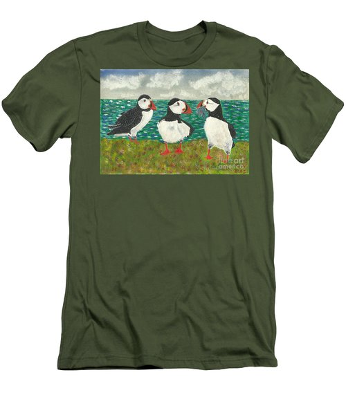 Puffin Island Men's T-Shirt (Slim Fit) by John Williams