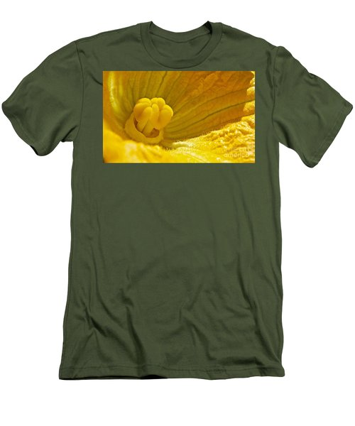 Men's T-Shirt (Slim Fit) featuring the photograph Pumpkin Blossom by Linda Bianic
