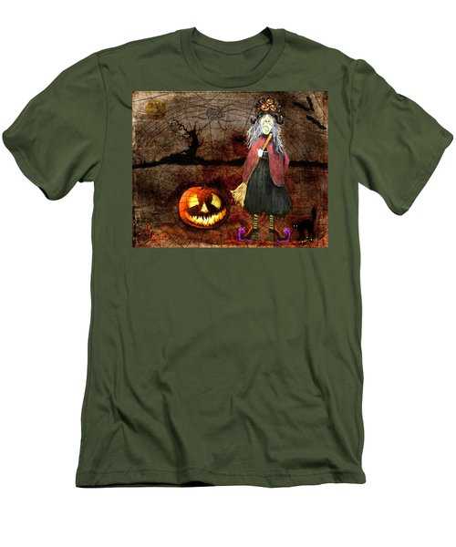 Pumpkinella The Magical Good Witch And Her Magical Cat Men's T-Shirt (Athletic Fit)