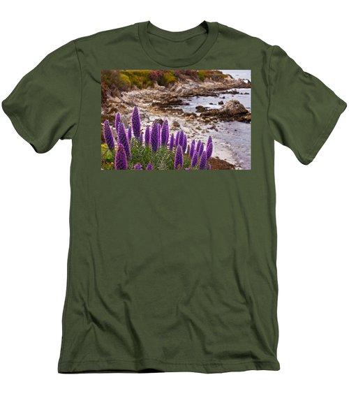 Purple California Coastline Men's T-Shirt (Slim Fit) by Melinda Ledsome