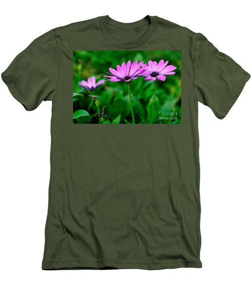 Men's T-Shirt (Slim Fit) featuring the photograph Purple Flowers by Joe  Ng