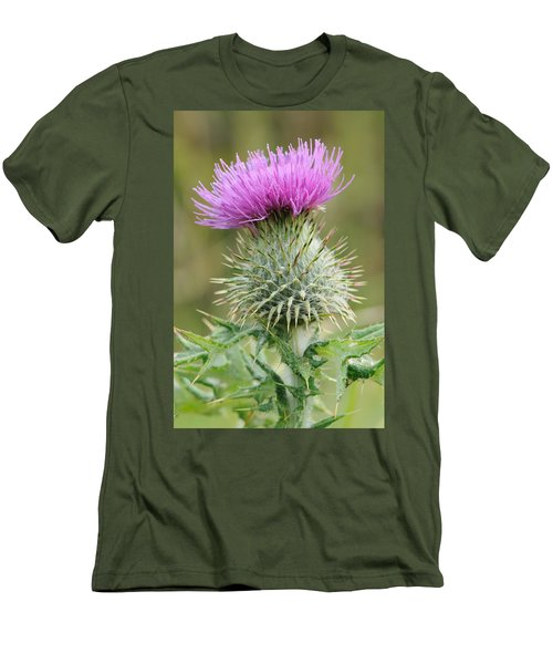 Men's T-Shirt (Slim Fit) featuring the photograph Purple Thistle by Jeremy Voisey