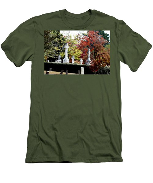 Men's T-Shirt (Slim Fit) featuring the photograph Quad Crosses In Fall by Lesa Fine