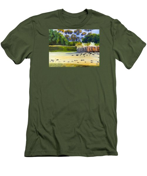 Men's T-Shirt (Slim Fit) featuring the painting Quiet Sand By The Creek by Pamela  Meredith
