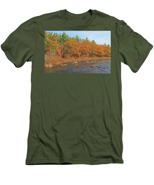 Quinapoxet River In Autumn Men's T-Shirt (Athletic Fit)