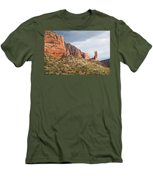 Rabbit Ears Spire At Sunset Men's T-Shirt (Slim Fit) by Jeff Goulden