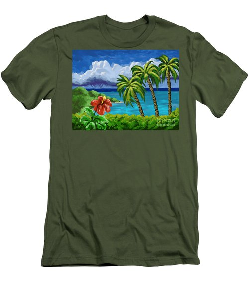 Men's T-Shirt (Slim Fit) featuring the painting Rain In The Islands by Tim Gilliland