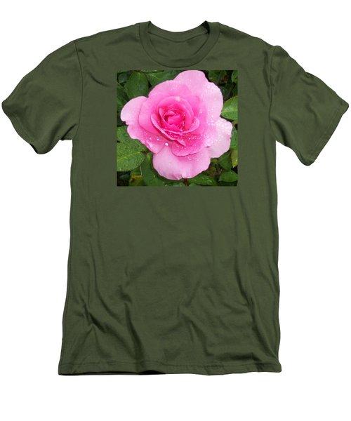 Rain Kissed Rose Men's T-Shirt (Slim Fit) by Catherine Gagne