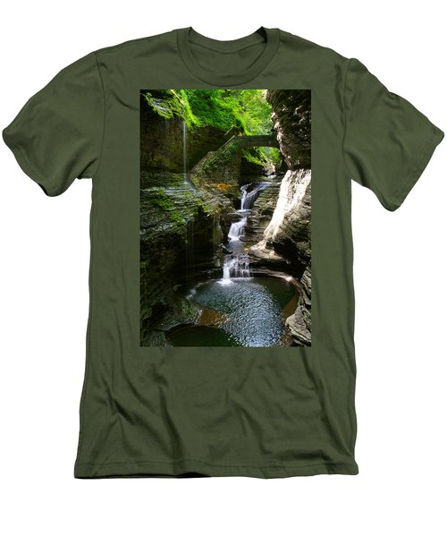 Rainbow Bridge And Falls Men's T-Shirt (Slim Fit) by Richard Engelbrecht