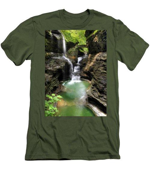 Rainbow Falls Men's T-Shirt (Slim Fit) by Lori Deiter
