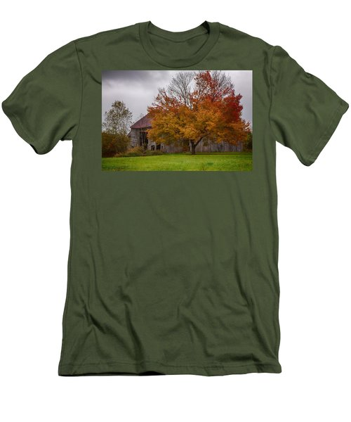 Men's T-Shirt (Slim Fit) featuring the photograph Rainbow Of Color In Front Of Nh Barn by Jeff Folger