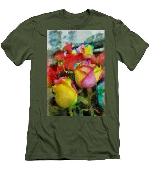 Rainbow Roses Watercolor Digital Painting Men's T-Shirt (Slim Fit) by Eti Reid