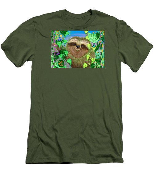 Rainforest Sloth Men's T-Shirt (Slim Fit) by Nick Gustafson