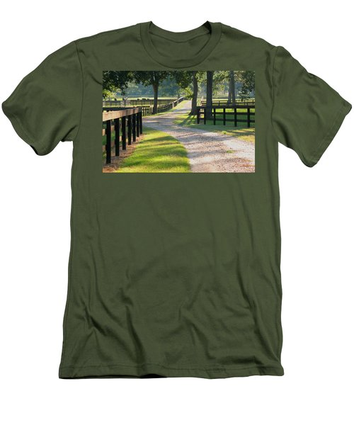 Ranch Road In Texas Men's T-Shirt (Slim Fit) by Connie Fox