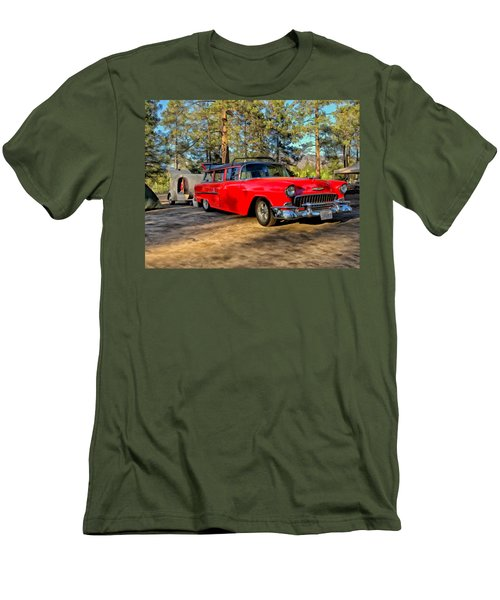 Men's T-Shirt (Slim Fit) featuring the painting Red '55 Chevy Wagon by Michael Pickett