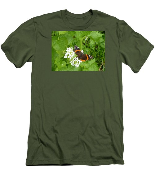 Men's T-Shirt (Slim Fit) featuring the photograph Red Admiral Butterfly by Lingfai Leung