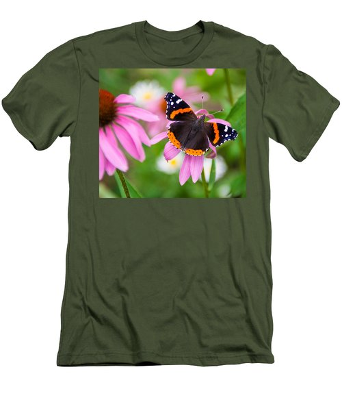 Men's T-Shirt (Slim Fit) featuring the photograph Red Admiral Butterfly by Patti Deters
