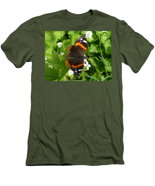 Men's T-Shirt (Slim Fit) featuring the photograph Red Admiral In Toronto by Lingfai Leung