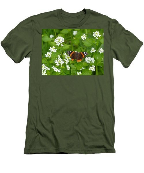 Men's T-Shirt (Slim Fit) featuring the photograph Red Admirals by Lingfai Leung