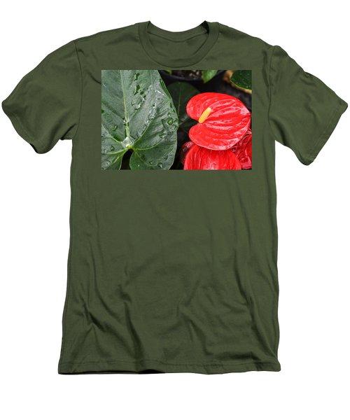 Red Anthurium Flower Men's T-Shirt (Athletic Fit)