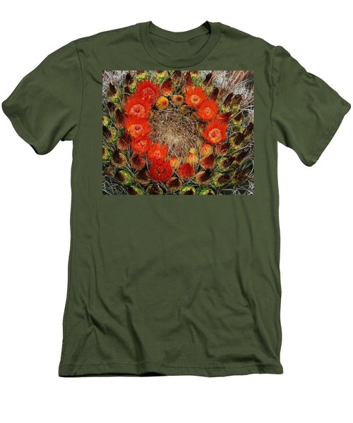 Men's T-Shirt (Slim Fit) featuring the photograph Red Barell Cactus Flowers by Tom Janca